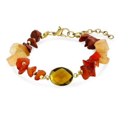 Boho Organic Brown Orange Earth Tone Multi Chip Stones Bracelet