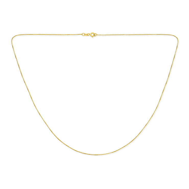 Box Chain 10 Gauge Necklace Gold Plated 925 Sterling Silver