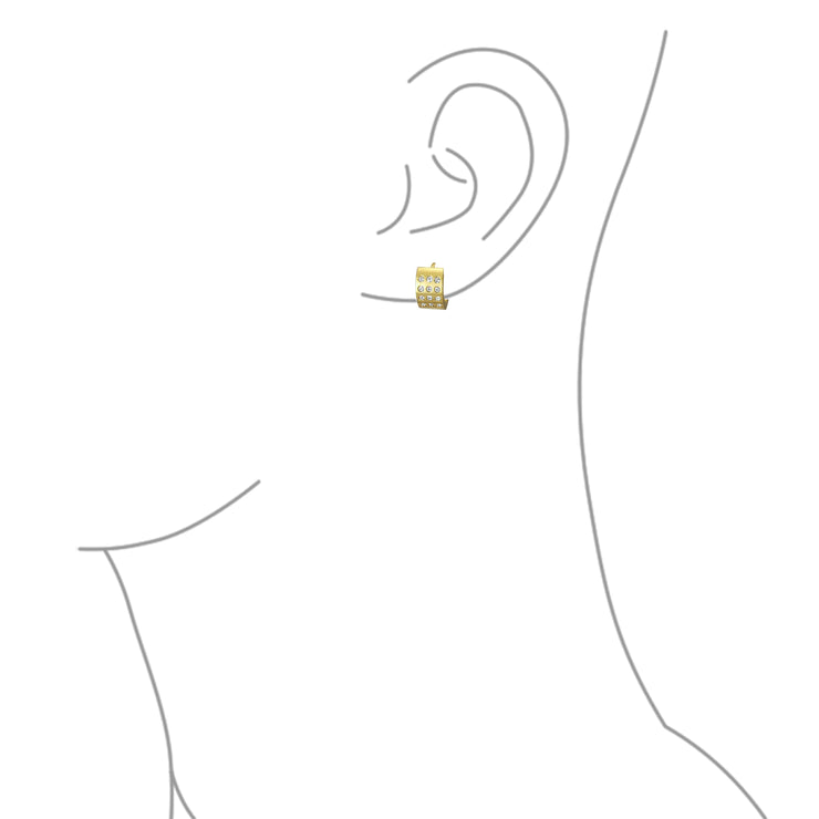 Wide 3 Row Hoop Kpop Earrings or CZ Gold Plated Stainless Steel