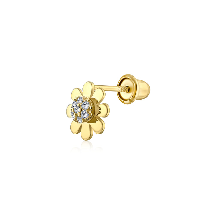 Tiny CZ Daisy Flower Cartilage Earring Real 14K Yellow Gold Screwback
