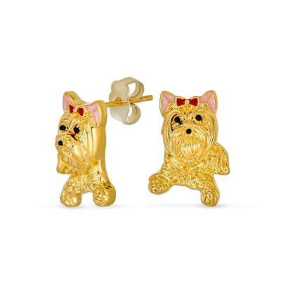 3D Pet Animal Yorkshire Terrier Puppy Dog Stud Earrings Gold Plated