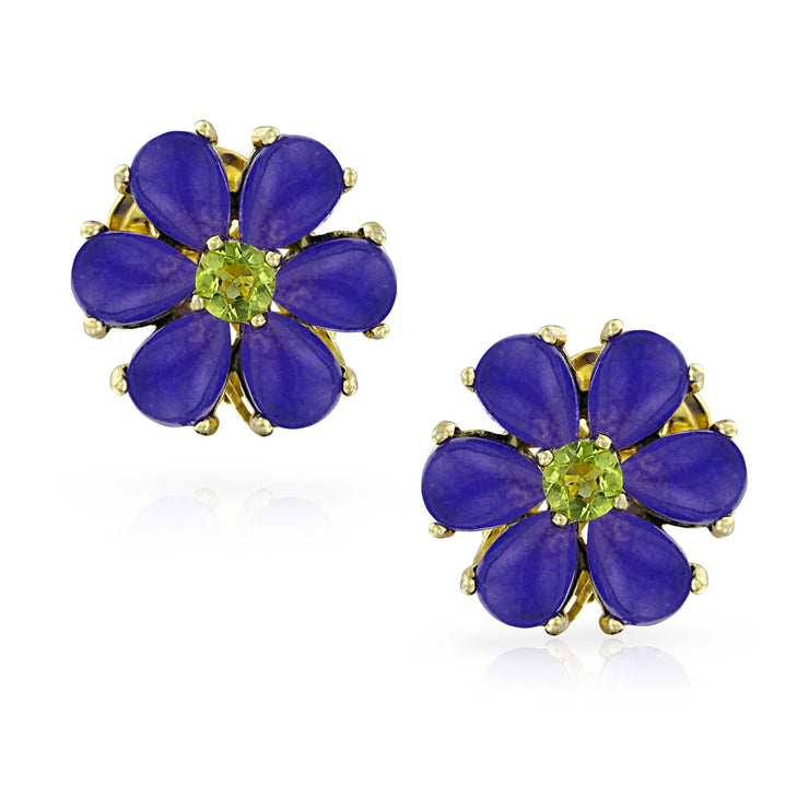 Dark Purple Quartz Garden Flower Green CZ Clip On Earrings Gold Plated
