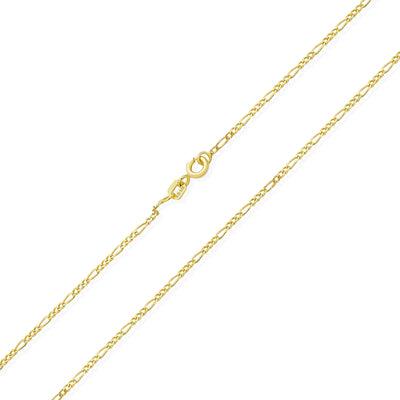 Figaro Chain 40 Gauge Necklace Gold Plated 925 Sterling Silver