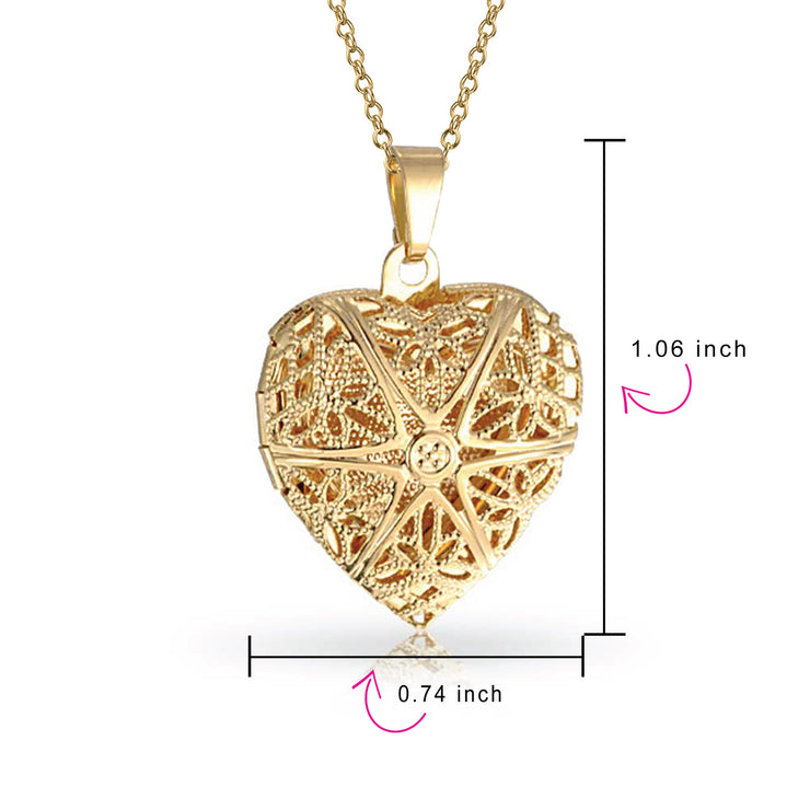 Vintage Star Heart Scented Oil Perfume Diffuser Locket Gold Plated