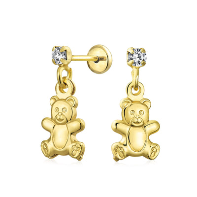 Teddy Bear Animal Lover Dangle Earrings CZ Stud 18K Gold Plated