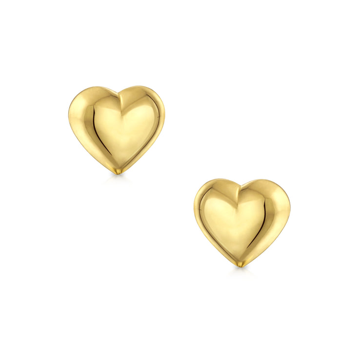 Minimalist Real 14K Yellow Gold Puff Heart Stud Earrings For Women 5MM