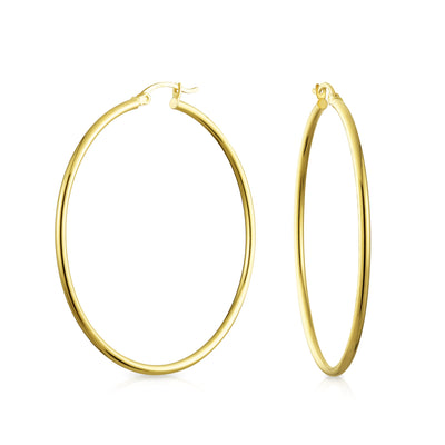 14K Real Yellow Gold Hoop Earrings Tube Style Lightweight 2 Inch Dia
