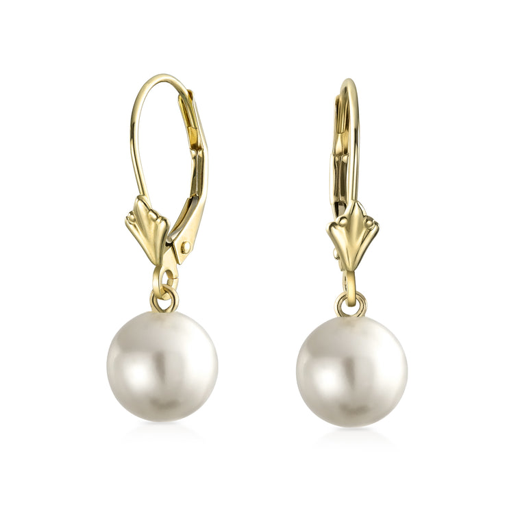 Real 14K Yellow Gold Freshwater Cultured Pearl Ball Drop Earrings