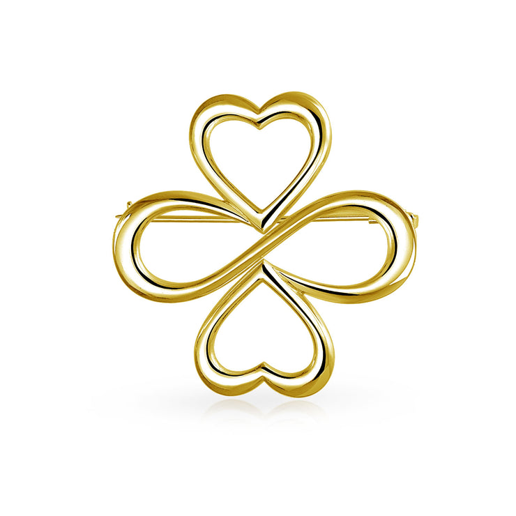 Ayllu Heart Infinity Clover Love Luck Unity Brooch Pin Gold Plated