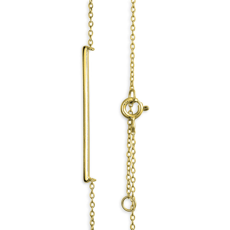 Sideways Horizontal Bar Pendant Necklace 14K Gold Plated Silver
