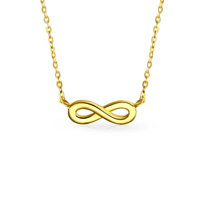 Infinity Love 14K Yellow REAL Gold High Station Pendant Necklace