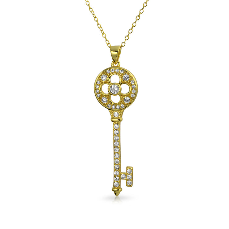 Vintage Style Clover Key Pendant Pave CZ Gold Plated Silver