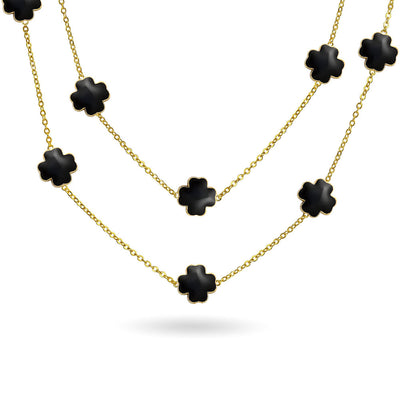 Black Clover Flower Gold Plated Tin Cup Chain Wrap Layer Necklace