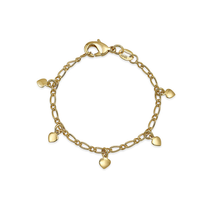 Gold Plated Tiny Dangling Hearts Charm Bracelet For Small Wrists