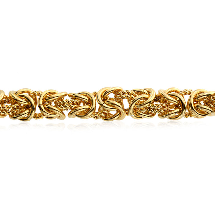 Byzantine Chain Mechanic Link Bracelet Gold Plated Stainless Steel