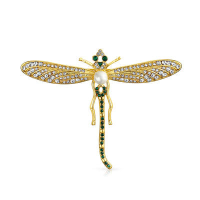 Gold Black Crystal Large Fashion Statement Garden Dragonfly Brooch Pin