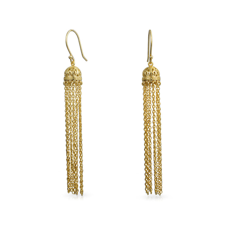 Gold Plated Silver Filigree Dome Dangle Long Chain Earrings