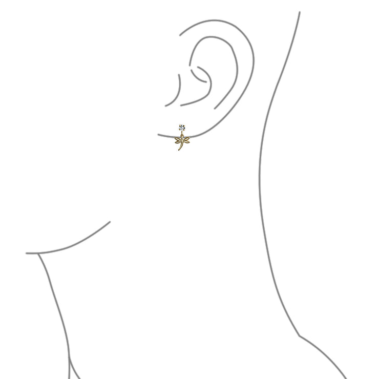 Garden Insect White Crystal Dangle Dragonfly Earrings Gold Plated