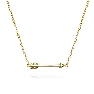Sideways Cupid Arrow Pendant Gold Plated Sterling Silver Necklace
