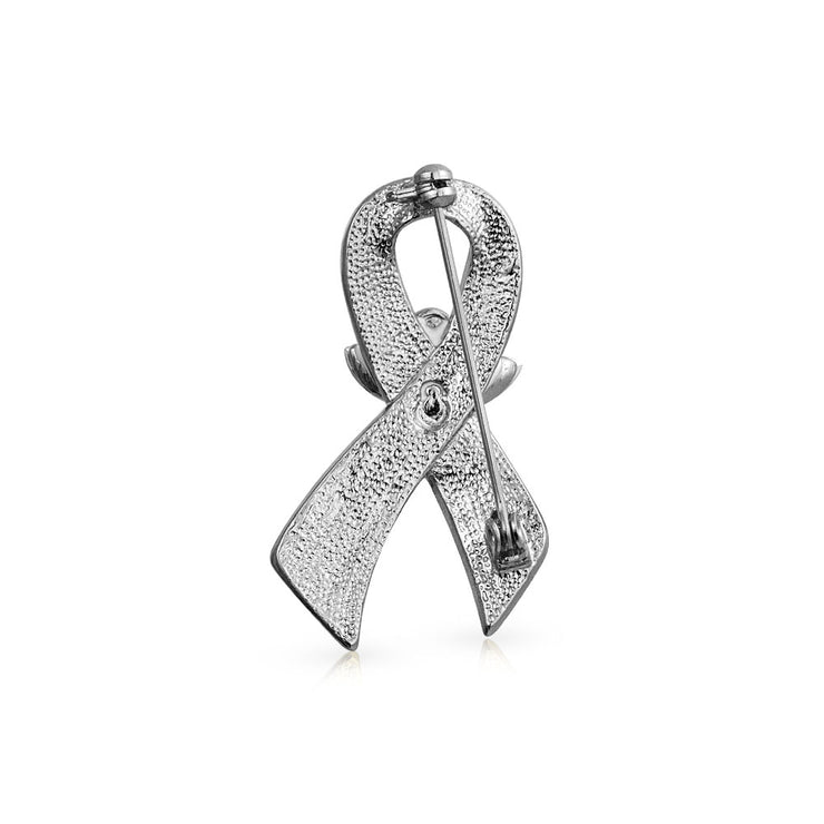 Purple Ribbon Pancreatic Cancer Survivor Angel Crystal Brooch Pin