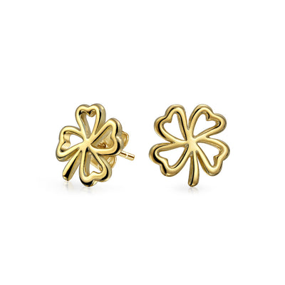 Heart Four Leaf Clover Stud Earrings Gold Plated Sterling Silver