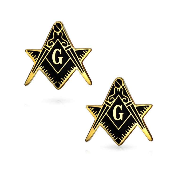 Freemasons Masonic Compass Cufflinks Black Gold Plated Stainless Steel