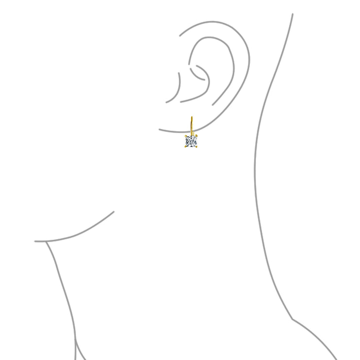 1CT Princess Cut CZ Drop Earring 14K Gold Plated 925 Sterling Silver