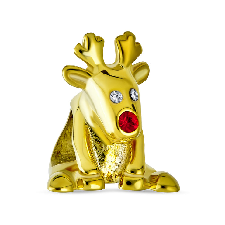 Rudolph Reindeer Red Nose Charm Bead Gold Plated Sterling Silver