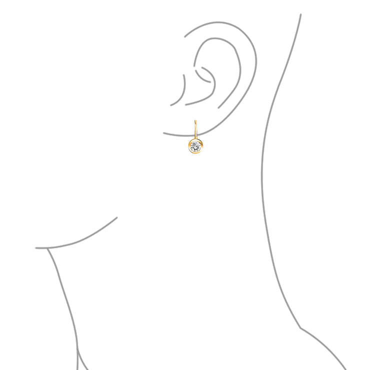 50CT Brilliant Cut CZ Drop Earrings 14K Gold Plated Sterling Silver