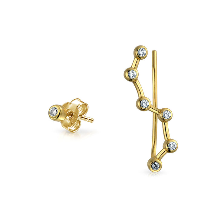 CZ Star Constellation Ear Pin Earring 14K Gold Plated Sterling Silver