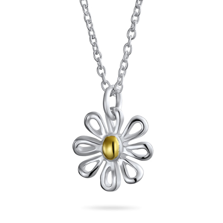 Daisy Flower Pendant Charm Necklace Gold Plated Sterling Silver