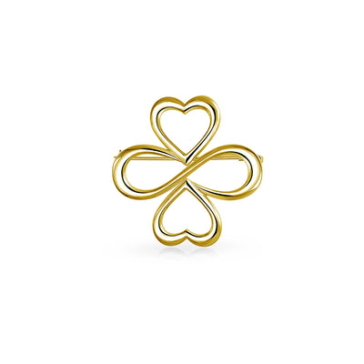 Ayllu Small Heart Infinity Clover Love Luck Unity Brooch Pin Gold