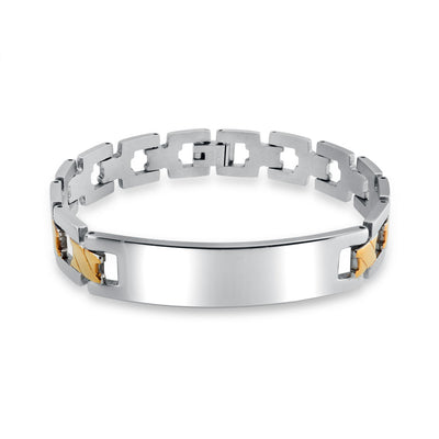 Identification Engravable ID Bracelet Cross Link Band For Men Matt Two