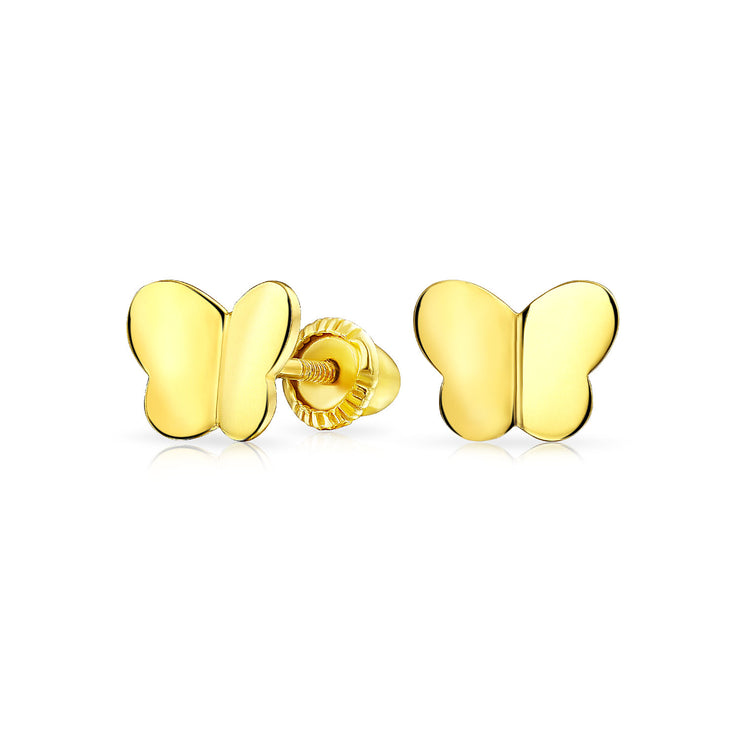 Minimalist Butterfly Stud Earrings Real 14K Yellow Gold Screwback