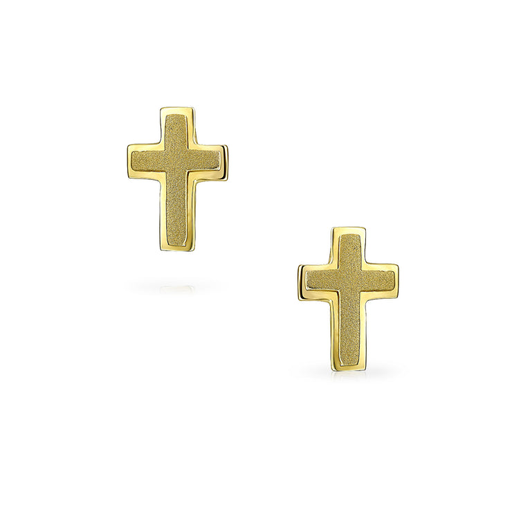 Religious Christian Heart Cross Stud Earrings Real 14K Gold Screwback