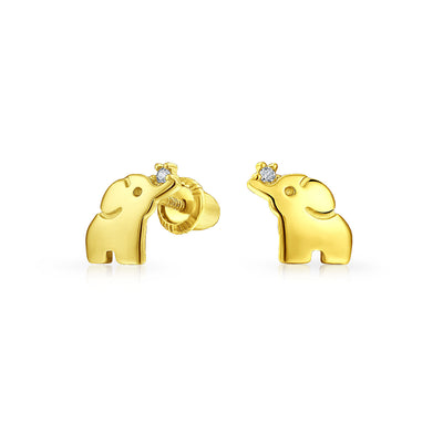 Minimalist Lucky Elephant Stud Earrings Real 14K Yellow Gold Screwback