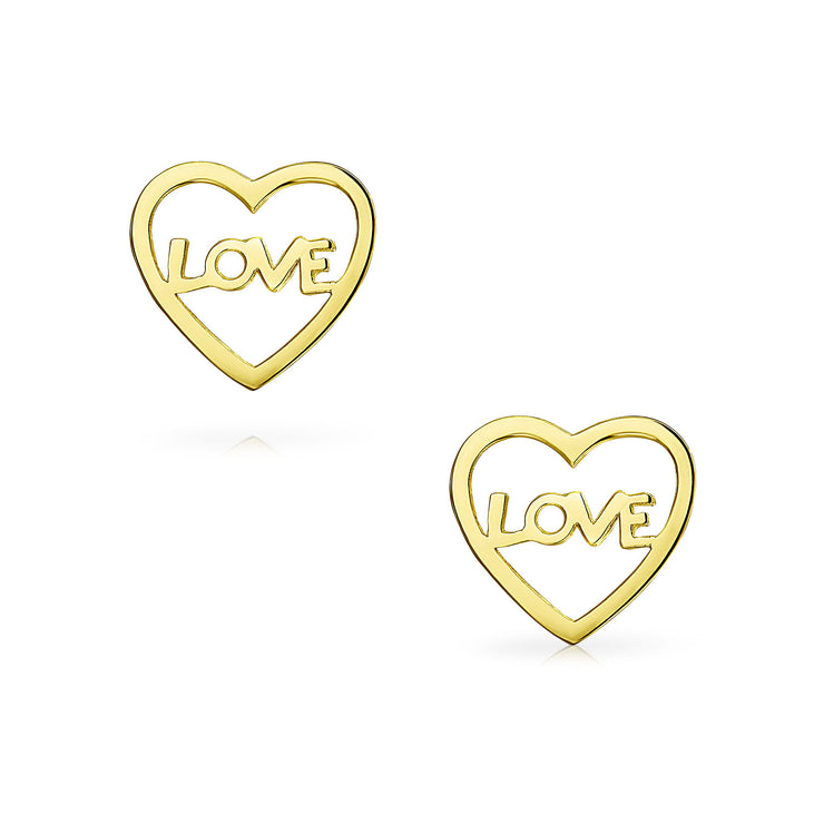 Minimalist Open Heart LOVE Word Stud Earrings Real 14K Gold Screwback