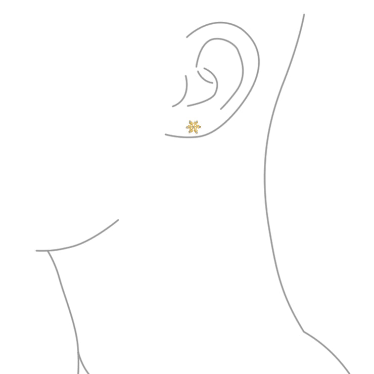 Tiny Holiday Christmas Snowflake Pave CZ Stud Earrings Gold Plated