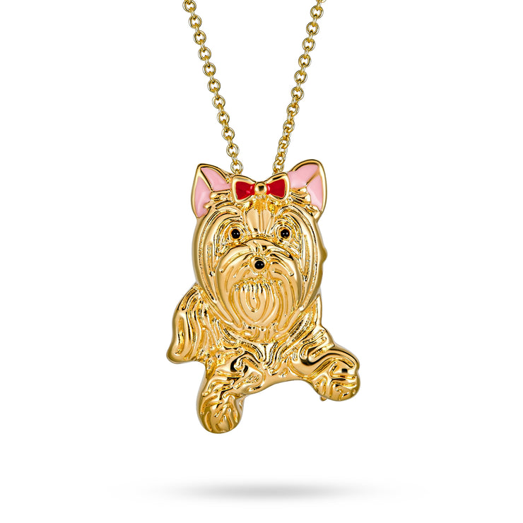 Yorkshire Terrier Pink Bow Pet Dog Gold Plated Necklace Pin Brooches