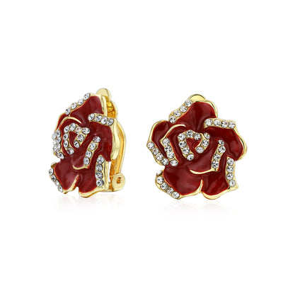 Red Rose Flower Crystal Spring Retro Clip On Earrings 14K Gold Plated
