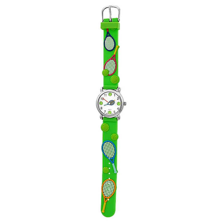 Tennis Racket Sports Waterproof Wrist Watch Quartz 3D Green Silicone