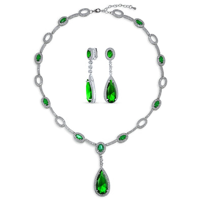 Vintage Halo Imitation Emerald Green CZ Y Necklace Clip-on Earrings