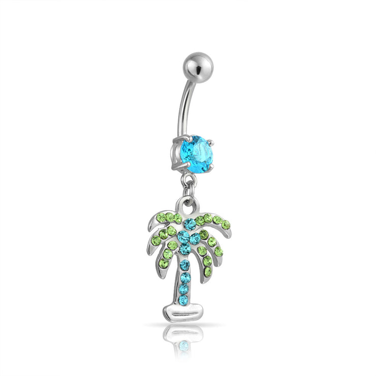 Green Blue Crystal Tree Navel Belly Ring 316L Stainless Steel 14 Gauge