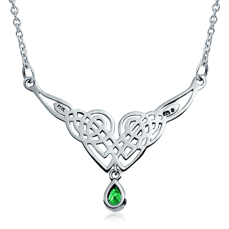 Celtic Knot Kelly Green Teardrop Necklace Collar Sterling Silver