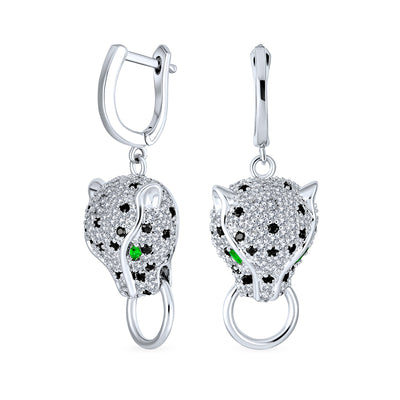 Black Panther Cat Green Eye Pave CZ Dangle Earrings Silver Plated