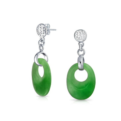 Green Jade Chinese Good tune Circle Dangle Earrings Sterling Silver