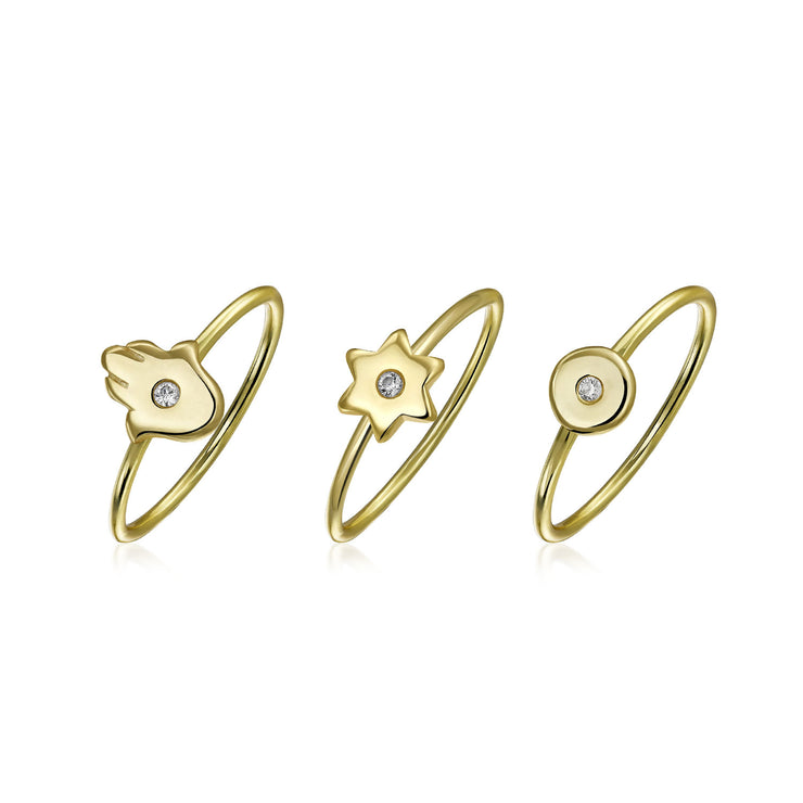 Tiny CZ Gold Plated Sterling Silver Midi Star Hamsa Hand Ring Set