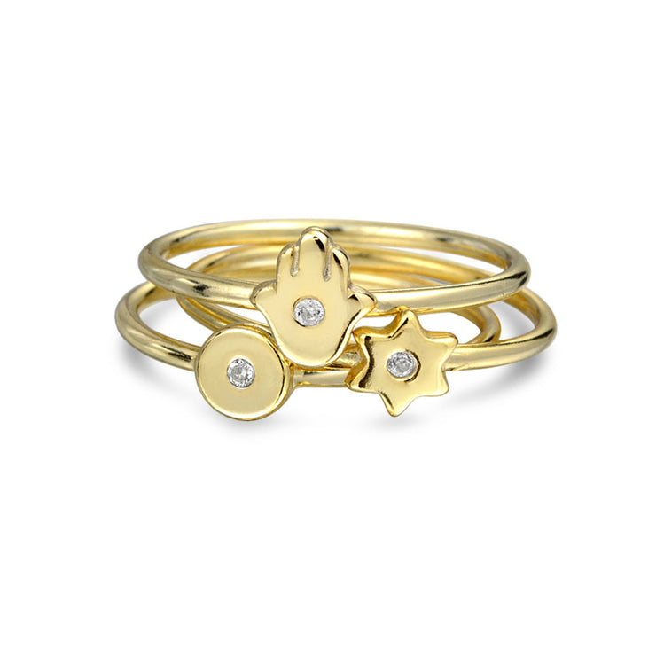 Tiny CZ 14K Gold Plated Sterling Silver Midi Star Hamsa Hand Ring Set