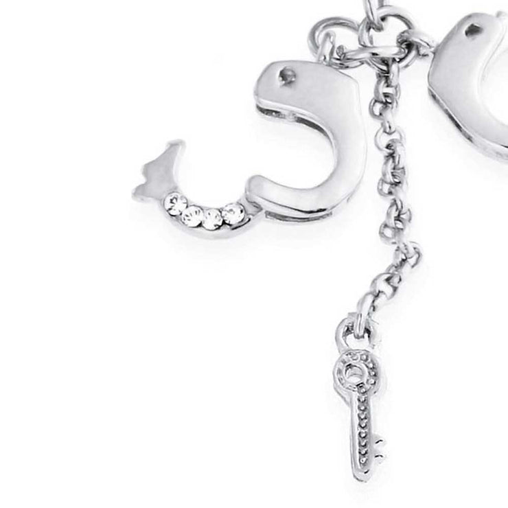 Handcuffs Key CZ Crystal Dangle Navel Belly Ring Surgical Steel