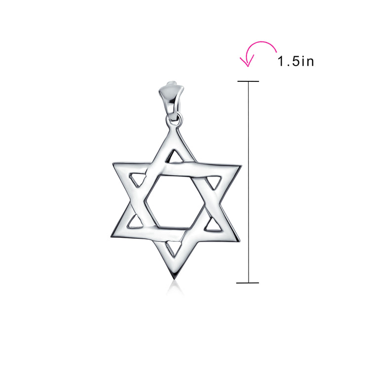 Large Star OF David Magen Jewish Pendant Necklace 925 Sterling Silver